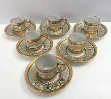 Limoges France Bardet Demitasse Cup & Saucer Set of 6 Gold and Celadon