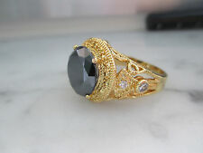 Antique Style 4Ct,11mm Black Diamond 14K Yellow Gold plated ring for Men