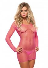 Mini Netz Kleid mit G-String- Pink -Sexy -Gr. XS - M -Party -Club- Gogo- Langarm