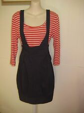 CUE Designer Stretch Career Pencil Dress w. Suspenders. Size 8.