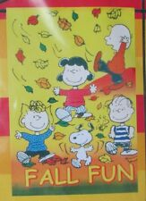 "Peanuts Charlie Brown Lucy Linus Sally Snoopy Fall Flag 12""x18"" 'Fall Fun' New"