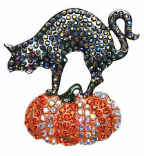 Kirks Folly Cat Walker Halloween Pin-Hematite-Black Cat & Pumpkin-AB Crystals