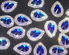 royal blue clear sew On Jewel 18mm GEM CRYSTAL RHINESTONE trim Bead