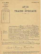 AVIS DE TRAINS SPECIAUX - Sports d'Hiver au MONT-DORE (1935 - Chemin de Fer)