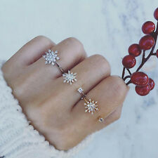 Inlay Rhinestone Snowflake Elegant Open Adjustable Ring Elegant Jewelry Decor