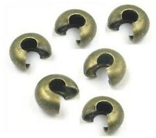 Vintage Brass 4 MM Crimp Bead Cover  Pkg.of 100 P.Solid Raw Brass