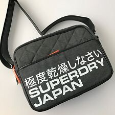 Superdry Japan Outdoor Gray Quilted Men's Messenger Bag Crossbody NWT U91LC003