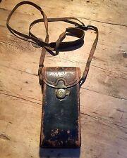 Vendimia temprana 20th C cámara caso bolsa de cuero duro gran 'hombre' o bolsa de mensajero