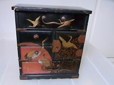 Japanese Antiquer Small Wooden Chest of Drawers Crane Makie Traditional Craft