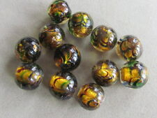 10 Handmade Lampwork Silver Foil Amber Black 14-15mm Glass  Beads,(W28L35)