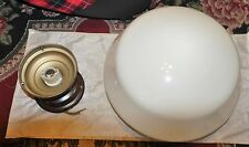 "Old Vintage 12"" Industrial Barn School House Milk Glass Ceiling Light Fixture"