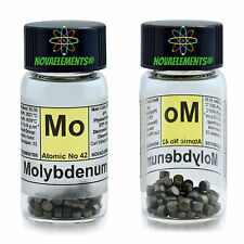 Molybdenum metal element 42 Mo pellets 5 grams 99,99% in glass vial with label