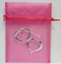 10 x Organza Bags For Jewellery, Wedding Gift Bag 17x12.5cm Pink & Silver Hearts