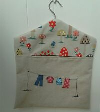 Handmade Peg Bag with Washing Line Free Motion Embroidery and Mushroom
