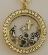 ORIGAMI OWL NATIVITY CHARMS SWAROVSKI CRYSTAL GOLD LOCKET FLAT OVAL LINK CHAIN