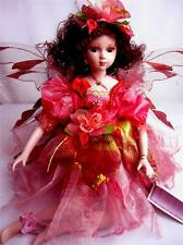 PORCELAIN FAIRY DOLL BRIGHT PINK WITH RED DRESS 16' H LIMITED EDITION
