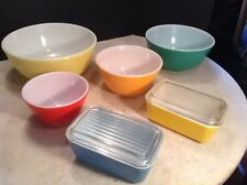 Vintage Nesting Pyrex Mixing Bowls & Casserole Dishes w/Lids Primary Colors