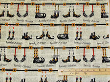 """Cheeky Pumpkins Cream Witch Shoes Halloween Fabric  24"""" Repeat Panel    #2962"""