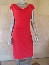 $130 LAUREN RALPH LAUREN Orange Red Jersey Cowl Knee-Length Casual Dress Sz 12