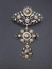 Superbe ancienne croix papillon en argent massif or et diamants bijou regional