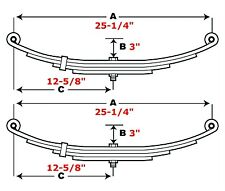 "Double Eye Trailer Leaf Spring - 5 Leaf - 25-1/4"" Length - 2900 Lb Cap. - 2 Pack"