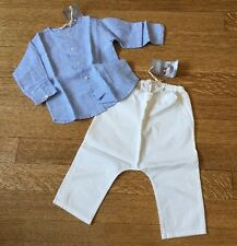 NWT Babe & Tess Light Blue Linen Shirt And White Cotton Pants 18 Months
