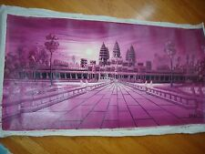 """CAMBODIAN / KHMER ANGKOR WAT HAND OIL PAINTING  39"""" X 15"""" AW4"""