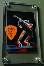 LOOK - Nice Ace Frehley tour orange guitar pick / Alive card #64 display!