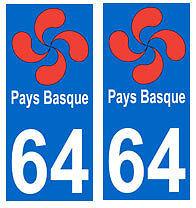 autocollant croix basque 64 plaque immatriculation auto