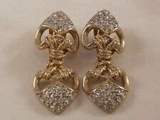 Vintage Coro Craft Gold Tone Dangle Clip On Earrings with Rhinestones