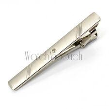 Modern Mens Silver Crystal Diamond Chrome Metal Tie Bar Holder Clip