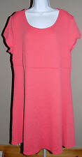 AVENUE Women's Plus Coral Textured Short Sleeve Summer Dress Size 22/24 NWT! $60