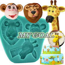 Zoo Animal Baby Silicone Fondant Mould Cake Decor Icing Mold Lion Monkey Giraffe
