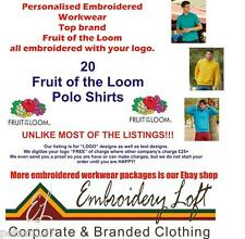 """20 FRUIT OF THE LOOM EMBROIDERED WORKWEAR POLO SHIRTS """"FREE"""" LOGO SET-UP"""