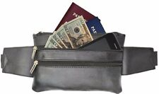 Genuine Leather Black Fanny pack Travel Passpor Hip Pouch t Money Hidden Bag