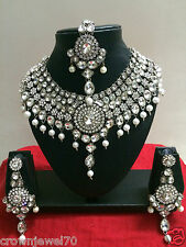 Indian Designer Bollywood Rhodium Plated White Bridal Jewelry Necklace Set