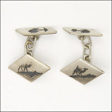 Late Deco Silver Black Etched Egyptian Motifs Cufflinks