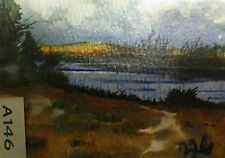 "ORIGINAL ACRYLIC ART ACEO PAINTING BY LJH A146 ""PINE POND"""