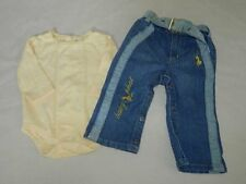 EUC Toddler Girls Baby Baby Phat Denim Jeans 6/9 Mo & Faded Glory Top