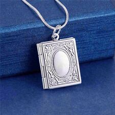 925 Silver Plated Book Photo Locket Pendant Chain Necklace *UK*