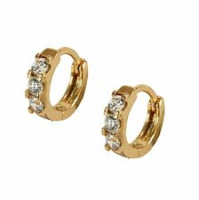 Childrens Girls18K Gold Filled Hoop Earrings CZ Crystals18ct Tiny 10mm GF BE916