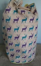 Fair Trade Eco-Ethnic Jute Hipster Stag Duffle Bag 36.5 x 30cm
