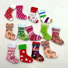 50Pcs Christmas Stocking Wooden Buttons For Card Making Crafts & Decorations