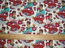 COTTON Fabric Folk Frida Kahlo on White floral birds burning hearts Artist BTY