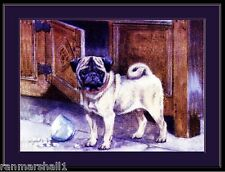 Vintage English Picture Print Pug Dog Puppy Art