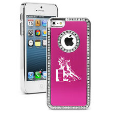 For iPhone 5 5s 5c 6 6s Plus Rhinestone Crystal Bling Case Barrel Racing Cowgirl