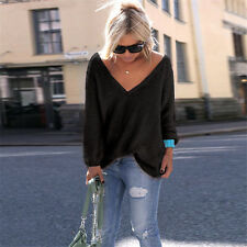 Oversize Women Long Sleeve Knitted Sweater Casual Baggy Tops Shirt Blouse UK6-16