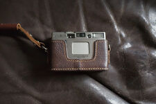Handmade Genuine real Leather Half Camera Case bag cover for MINOLTA TC-1 Brown
