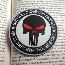 PUNISHER 3D PVC GITD GOD WILL JUDGE OUR ENEMIES TACTICAL SWAT PATCH White