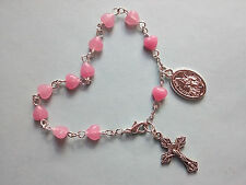 Rosary Bracelet Pink Glass Heart Beads with St Michael and Guardian Angel Medal